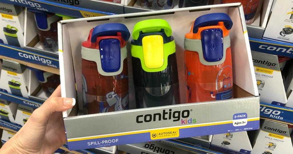 three kids water bottles in a package in store