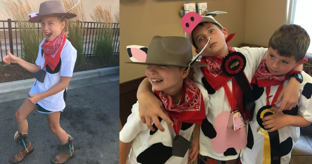 Collin's kids and friend dressed up as cows for chickfila