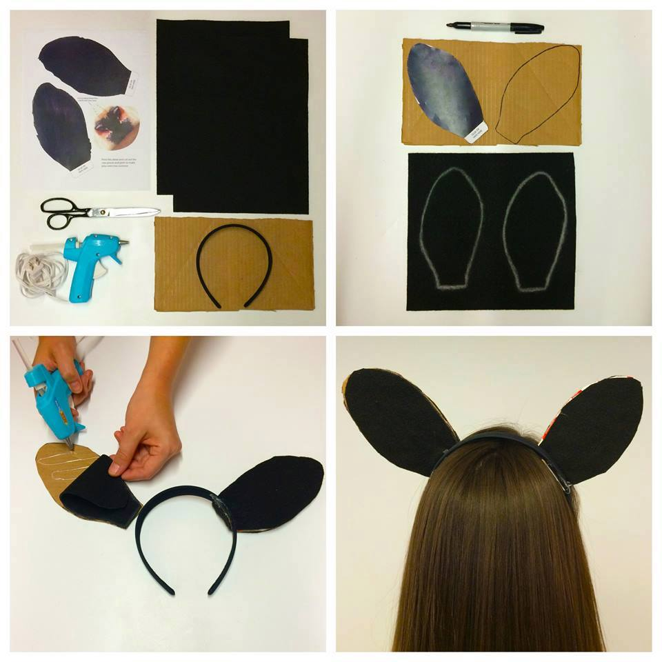 pictorial showing how to cut black felt into ears and glue on cardboard then to headband for cow ears