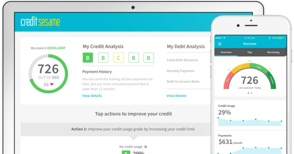 Credit Sesame desktop view and phone app