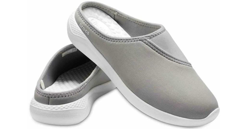 gray crocs mules