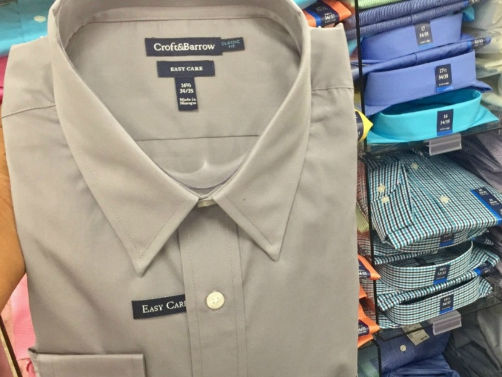 men's croft & barrow dress shirt in taupe with other colors on shelves