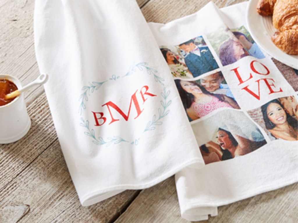 shutterfly tea towel with croissant and honey
