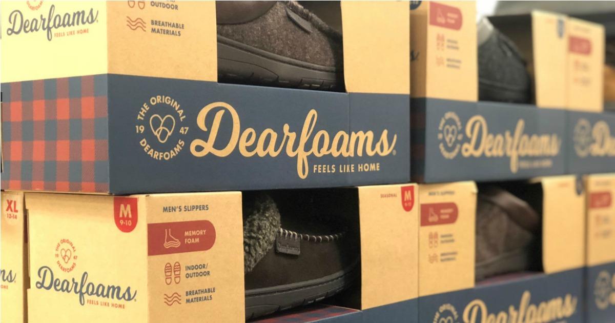 boxes of dearfoams slippers on shelf