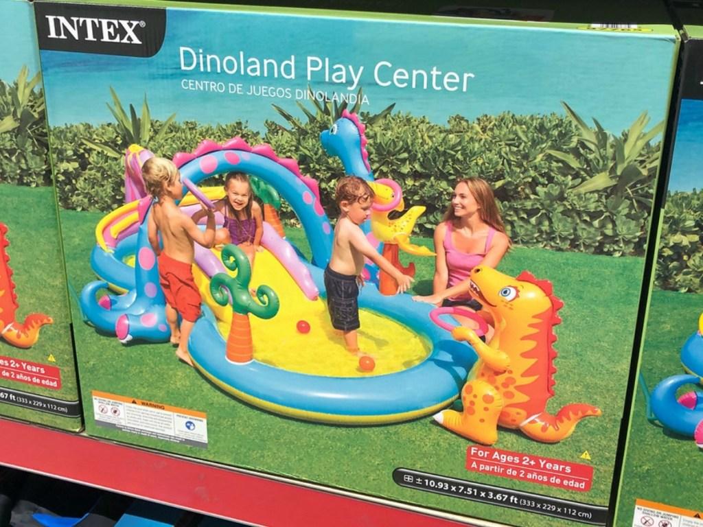 box with dinosaur splash pad blow up sprinkler toy