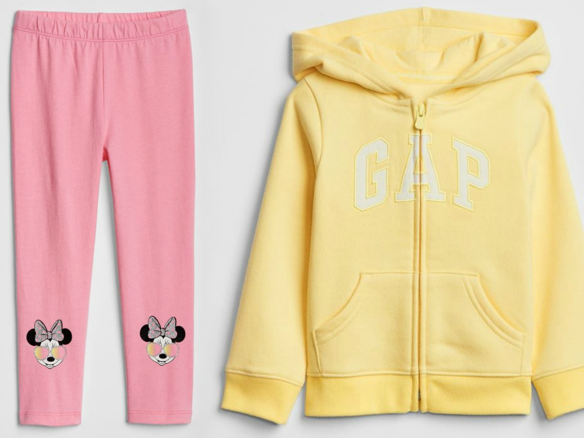 pink leggings with minnie mouse heads and yellow gap hooded sweatshirt