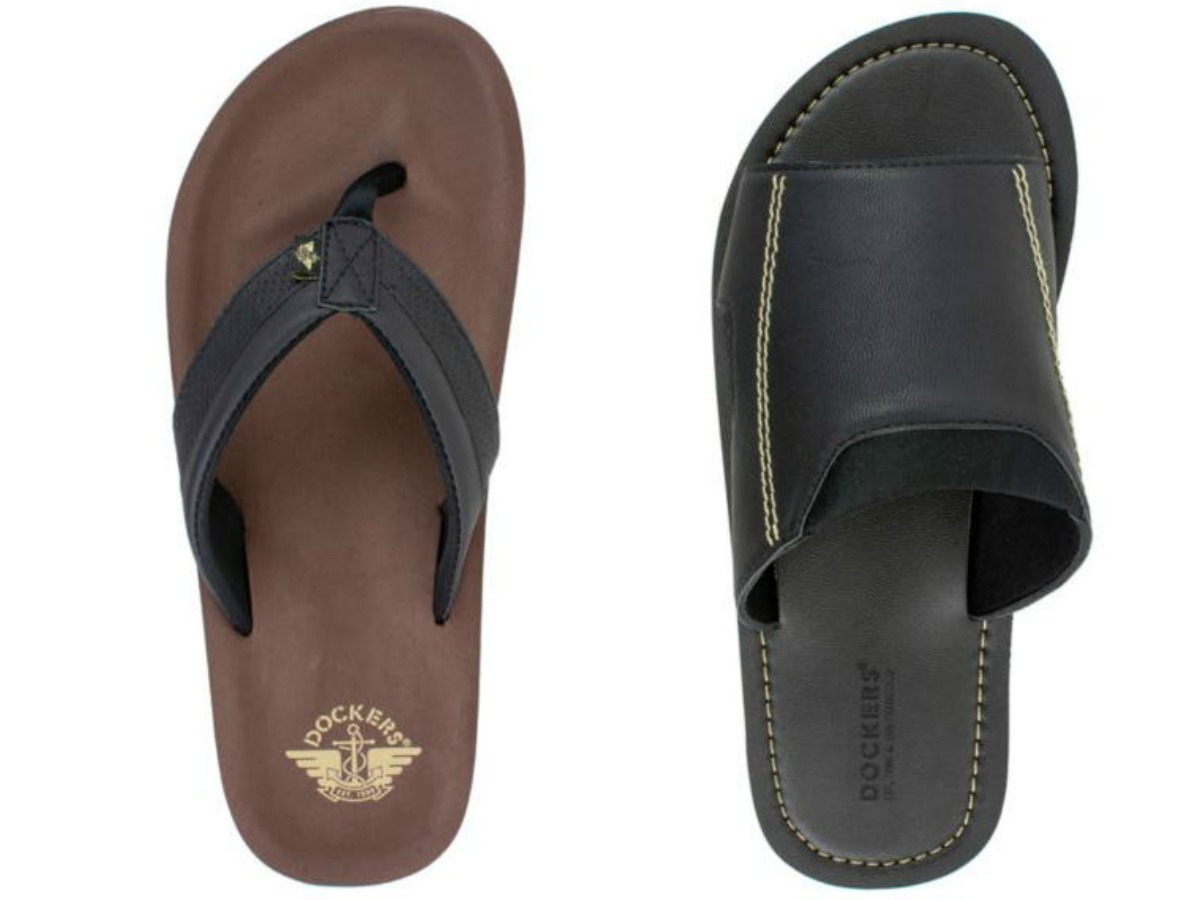 dockers men's flip flops in brown and black