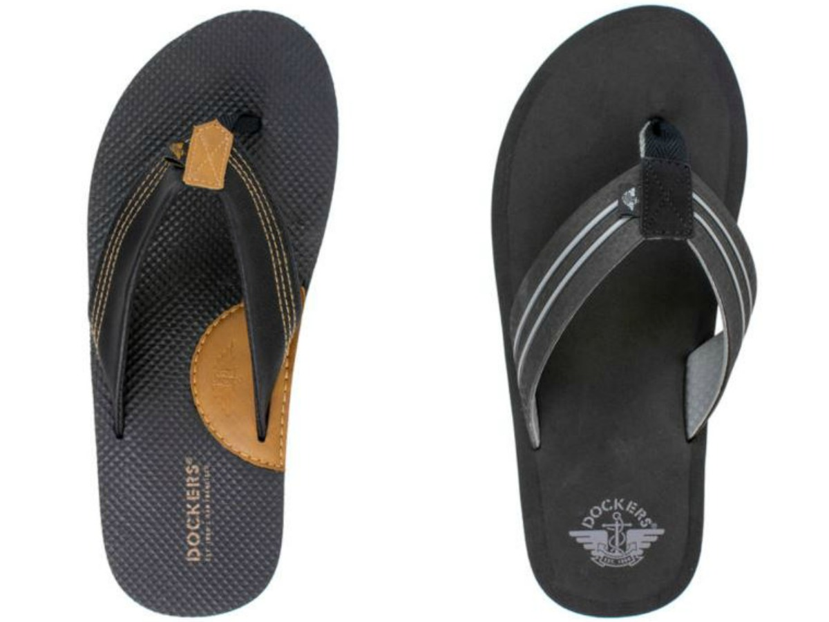 two different pairs of men's flip flops