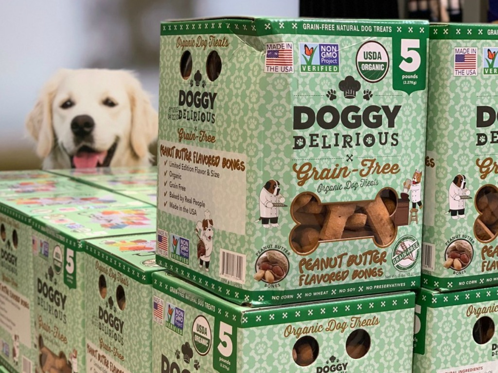 box of dog treats in store