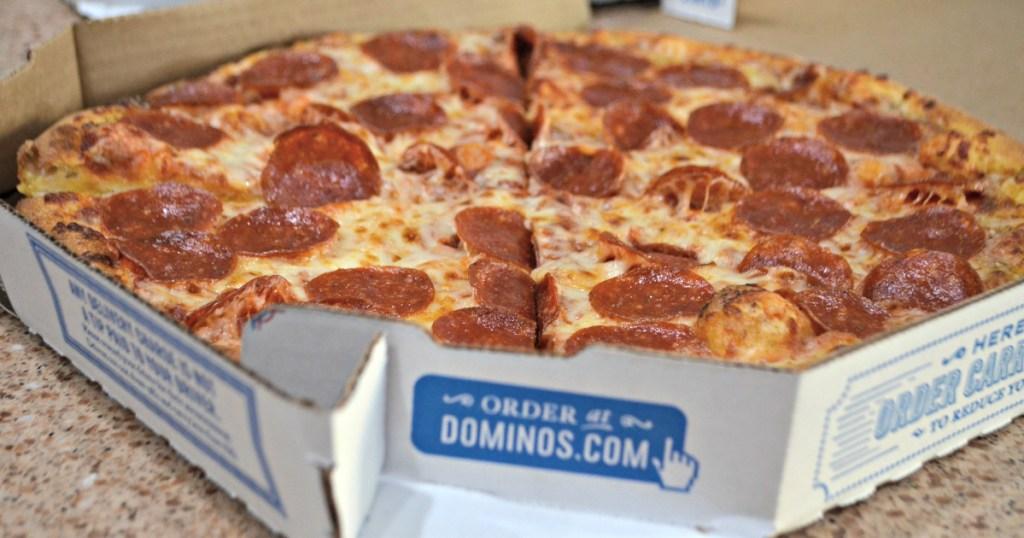 Domino's pepperoni pizza in the box