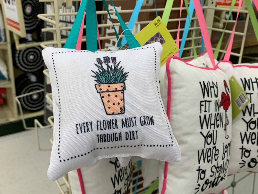 decorative pillows on display at store