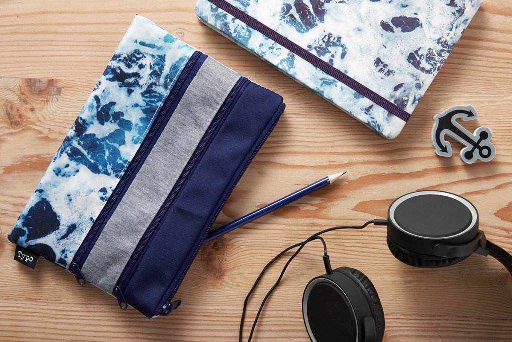 double zipper pencil pouch with pencil hanging out