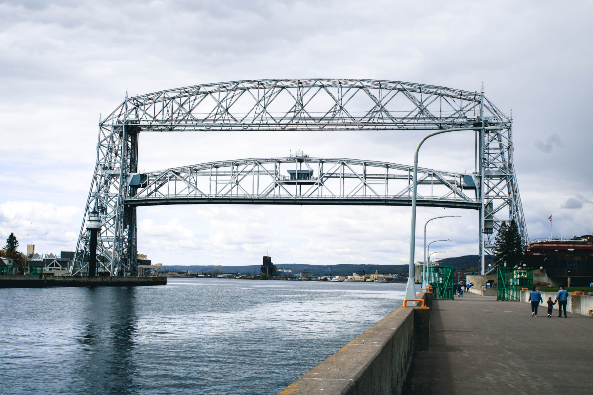 bridge over river in cheap family vacation spot duluth mn