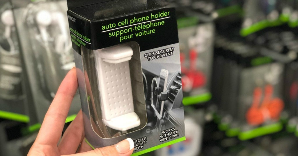 handing holding boxed package containing cell phone holder