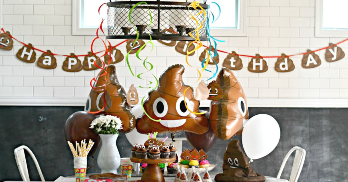 poop party supplies on table and poop balloons