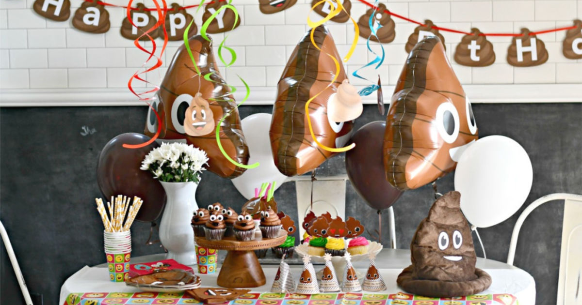 easy poop party theme with decorations on table