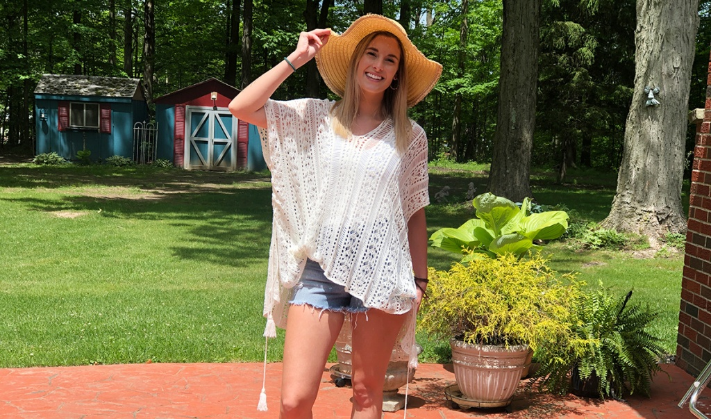 emily wearing amazon crochet cover up