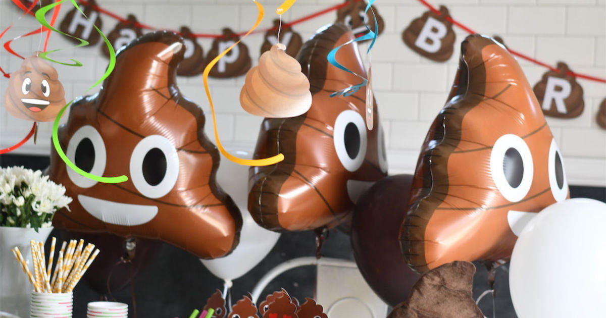emoji poop mylar balloons for party