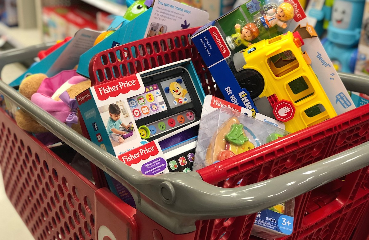 target red cart full of fisher price toys