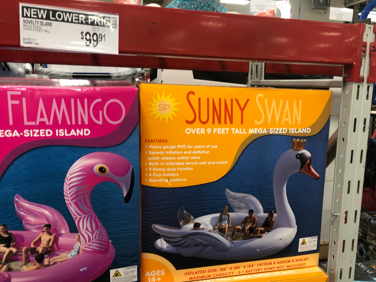 Box of sunny swam and flamingo in shelf at sam's club