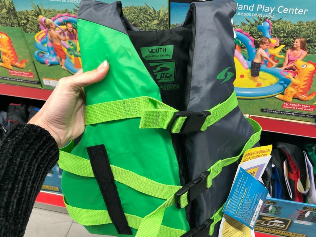 green life jacket for kids in store