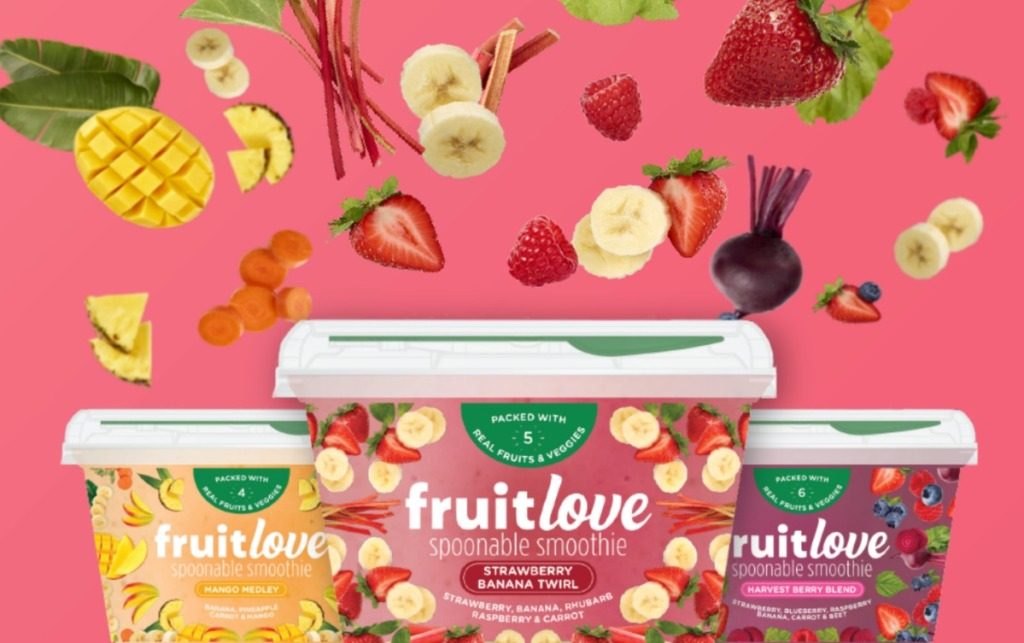 three fruit love containers with fruit swirling in the background