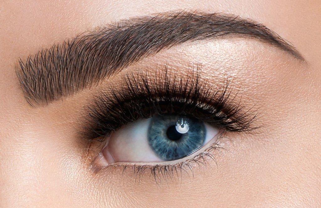 close up of blue eyeball with full eyelashes and eyebrow