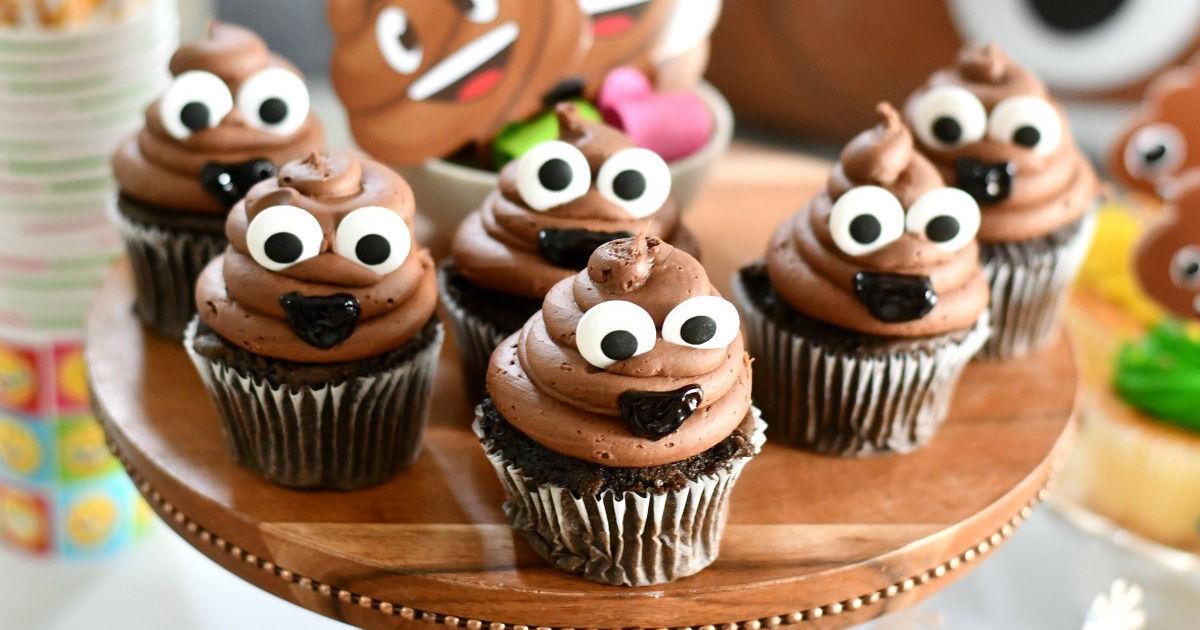 funny emoji poop cupcakes