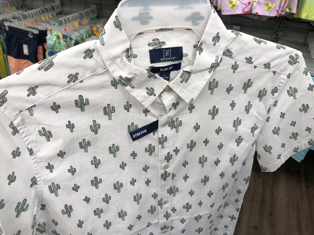 george slim fit cacti print button up shirt at walmart