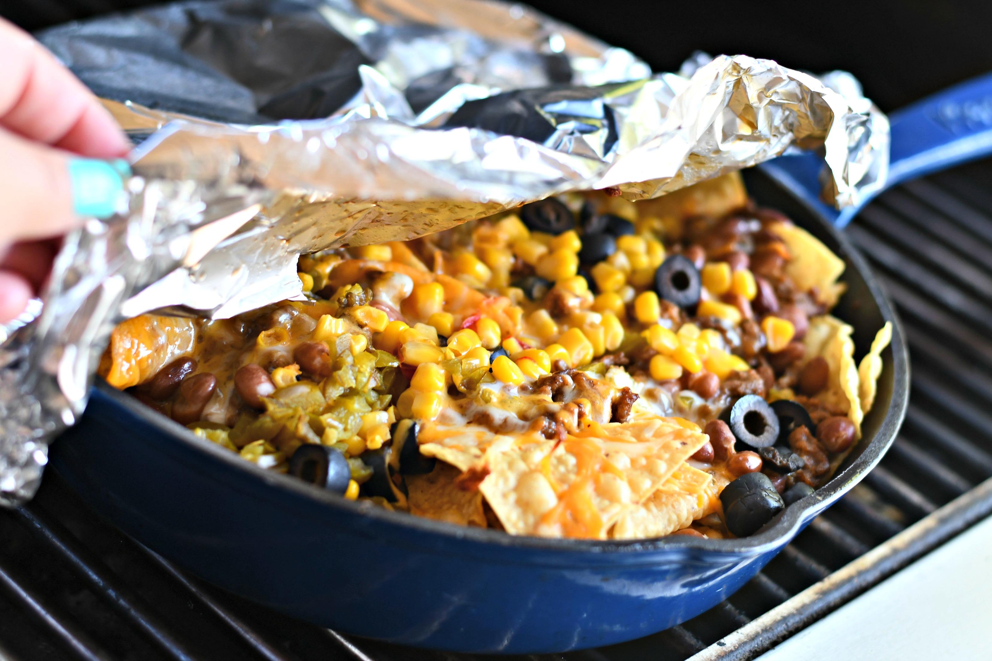 Campfire Skillet Nachos Easy Bbq Grill Camping Recipe Hip2save