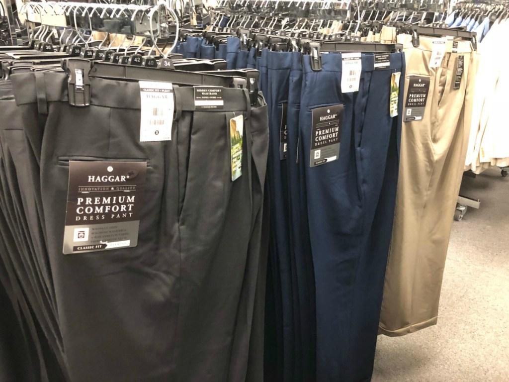 men's dress pants on hangers