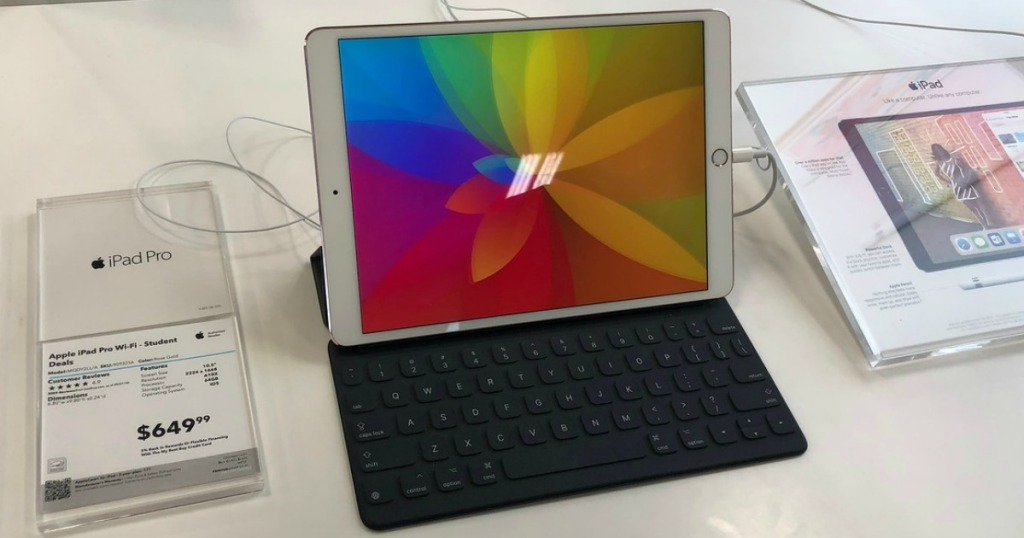 ipad pro with keyboard sitting on store shelf