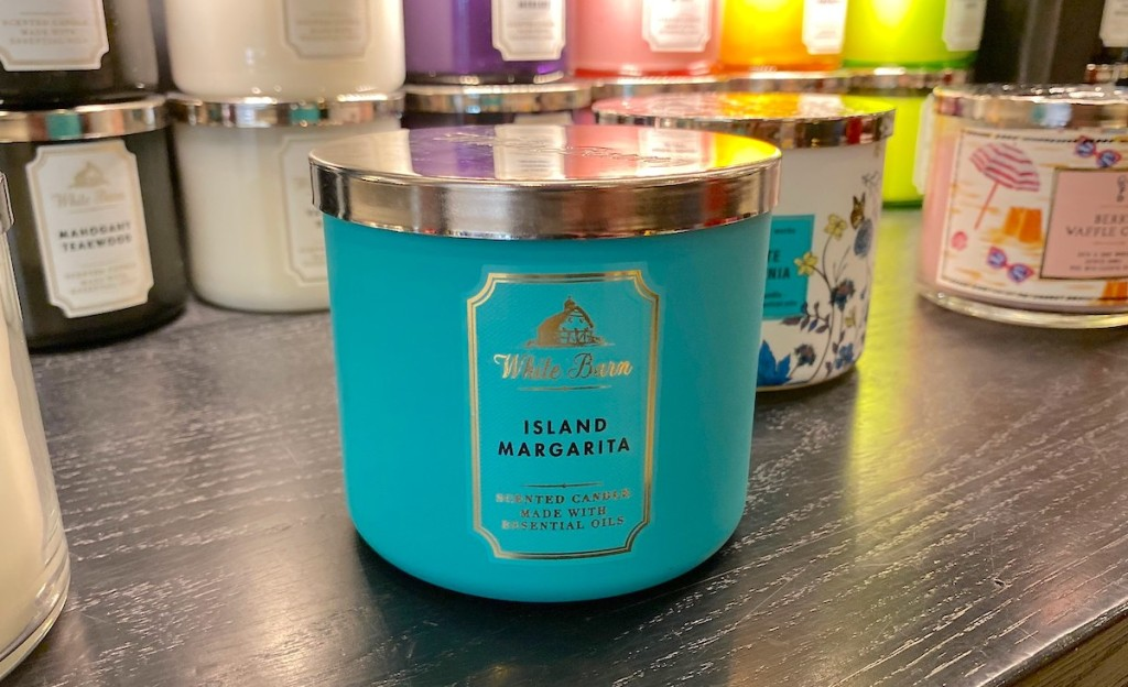 blue island margarita candle on store shelf