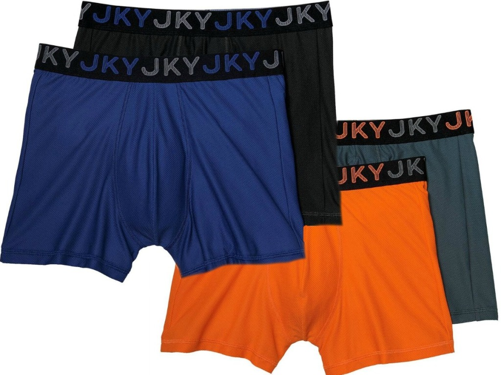 four pairs of men's colorful underwear