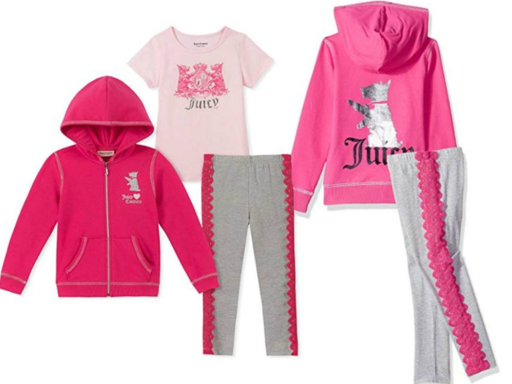 girls apparel in pink with hoodie, tee and pants