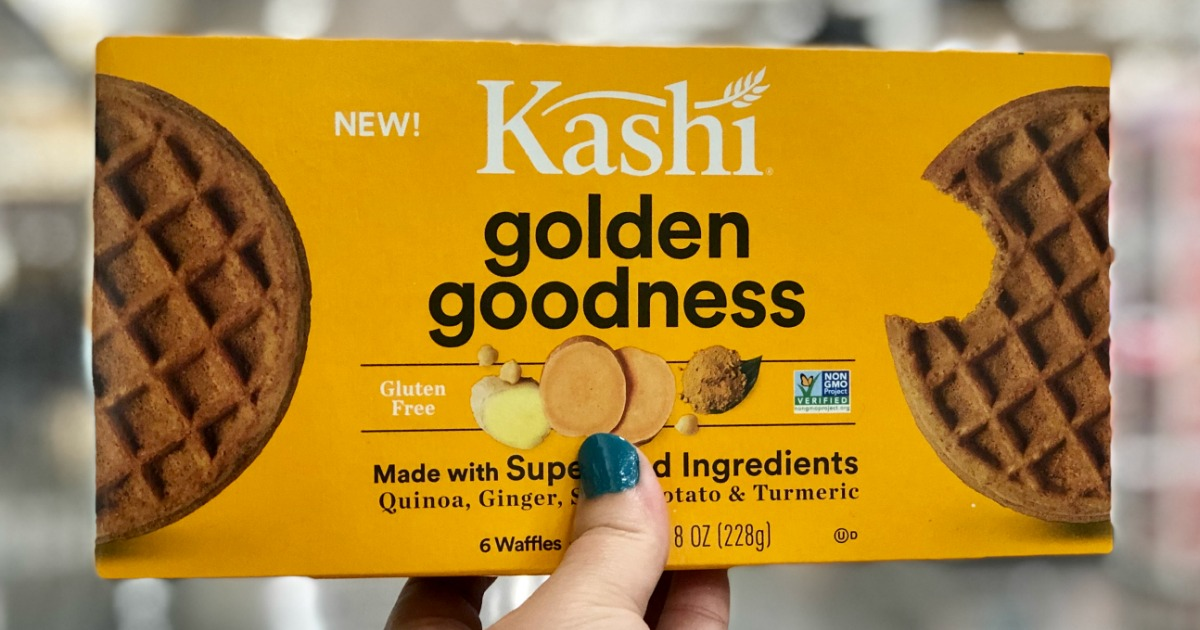 yellow box of frozen Kashi brand golden goodness waffles
