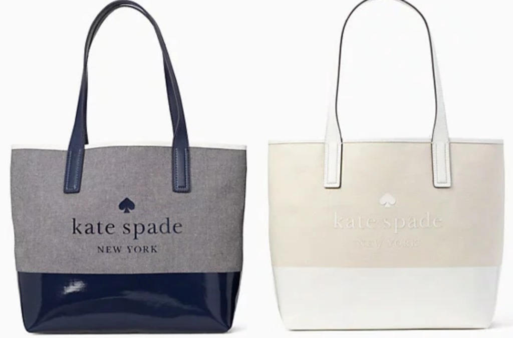 two kate spade bags one blue and one cream
