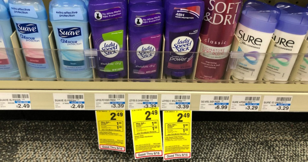 suave, lady speedstick, soft and dri, sure deodorants on store shelf