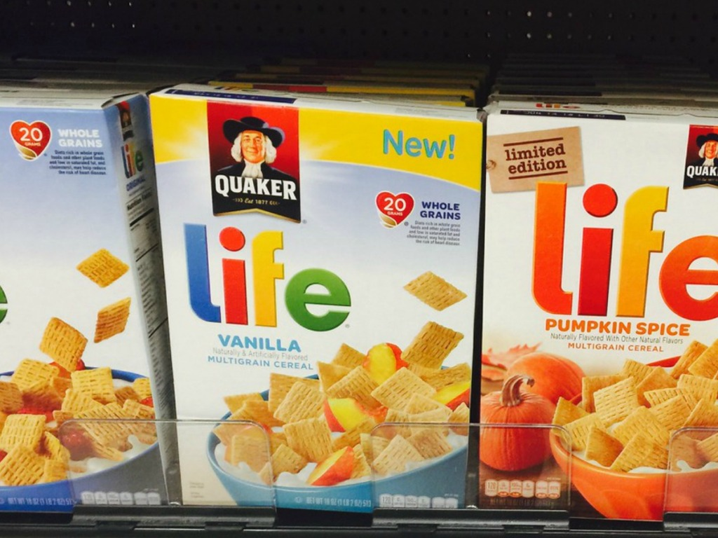 boxes of life cereal on store shelf