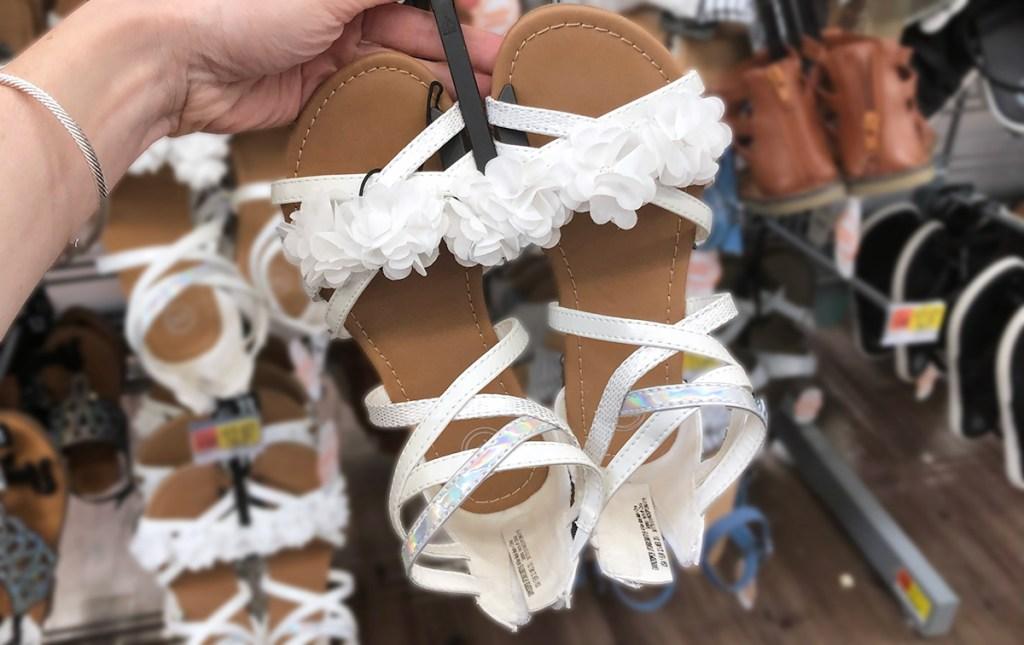 girls white ruffle strappy sandals at walmart