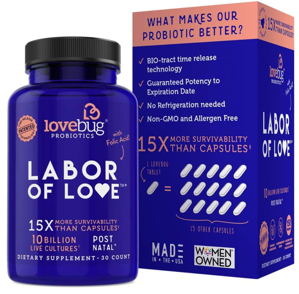 lovebug probiotics labor of love box and botle