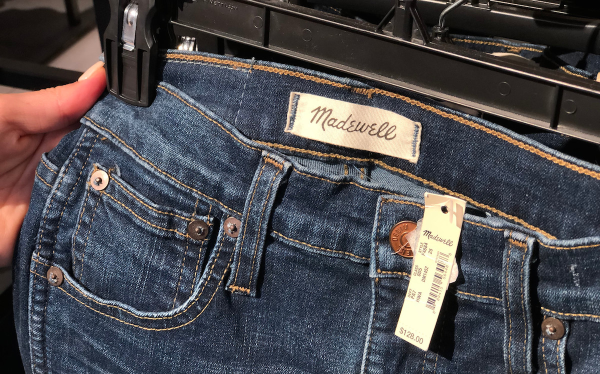madewell jeans tag and price tag