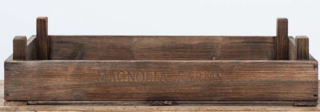 wood crate tray that has Magnolia Farms written on the front