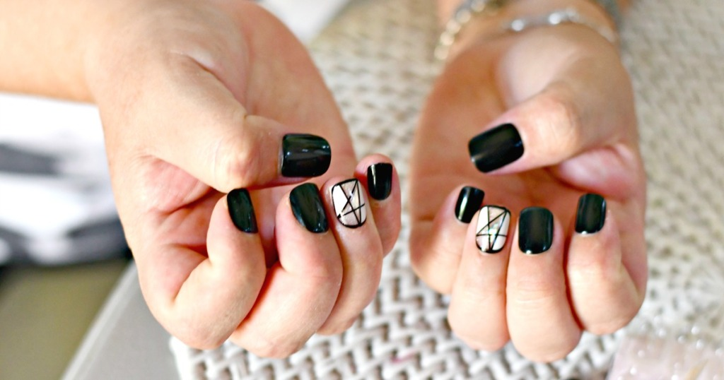 nails with Impress nail manicure in black