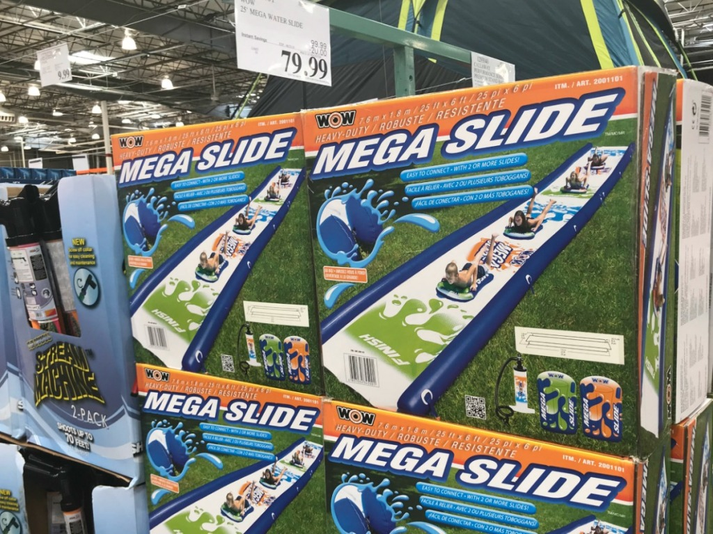 display in store with water slides in boxes