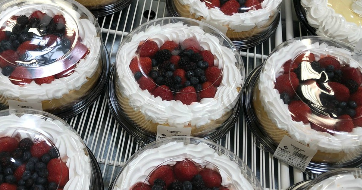 refrigerated case full of berry-topped cheesecake at Sam's Club