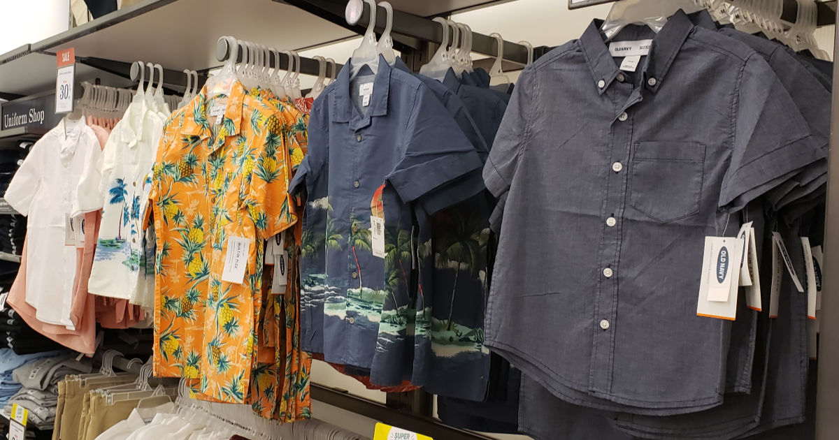 old navy men's button down shirts in store