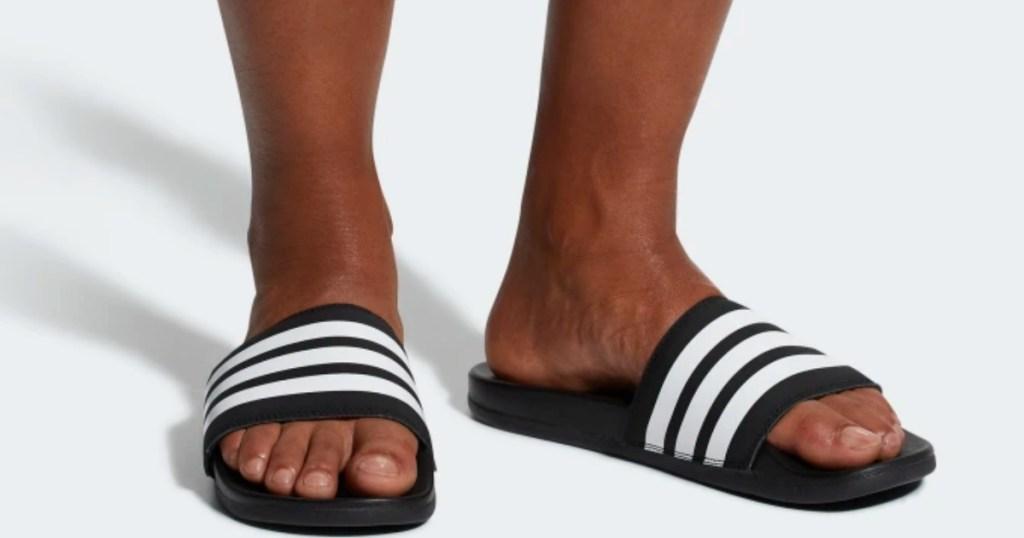 ec2f141d1 men's feet in adidas Adilette Men's Essentials Cloudfoam Plus Stripes Slides