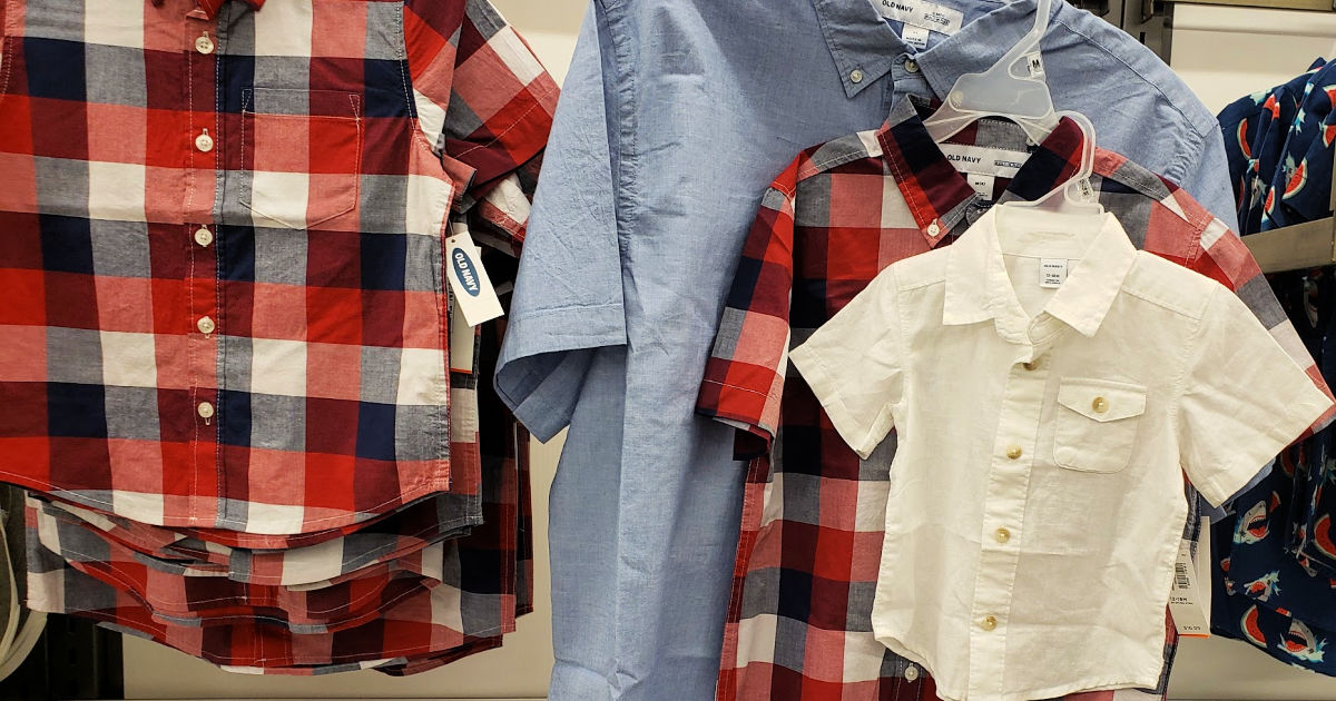 old navy mens red plaid and denim blue button down short sleeve shirts, boys red plaid button down shirt, white short sleeve button down toddler shirt