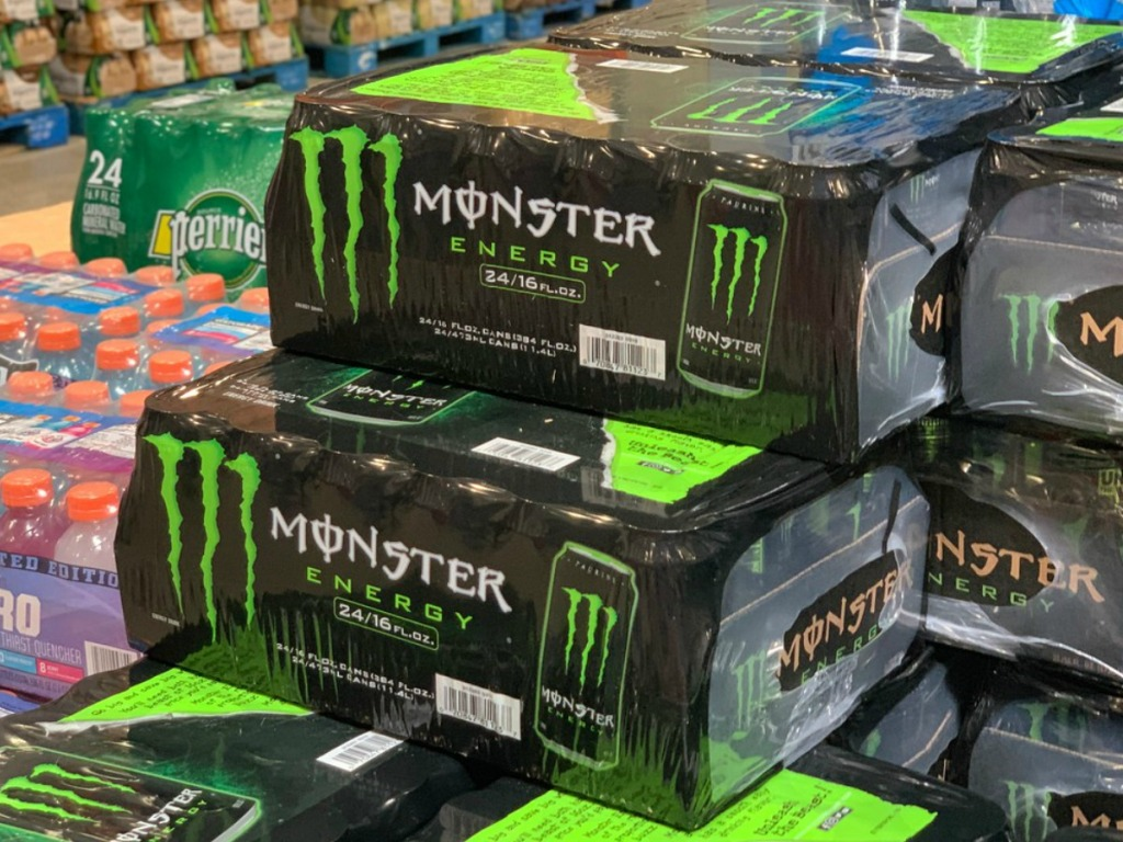 boxes of energy drinks in store